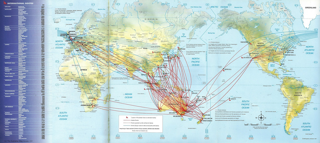 Qantas Route Map Qantas international route map, 1997 | Qantas Airways intern… | Flickr