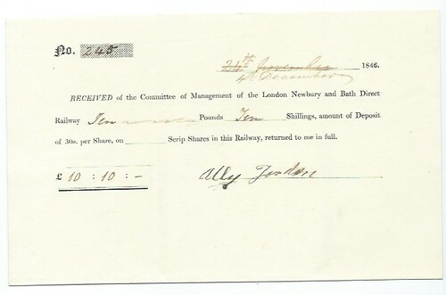 London,Newbury and Bath Direct Railway share call receipt 1846 | by ian.dinmore