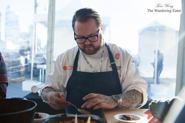 Chef Jamie Bissonnette of Toro NYC plating