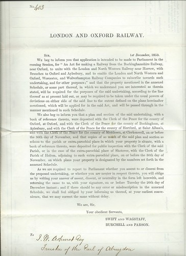 London and Oxford Railway Notice to Treat 1853 | by ian.dinmore