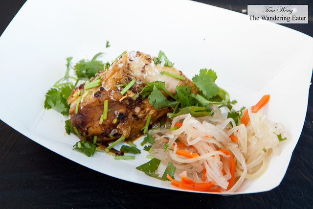 """""""Inasal"""" marinated chicken in Tabasco, ginger and lime with a side of Filipino pickled green papaya salad by Chef Paul Qui of qui"""