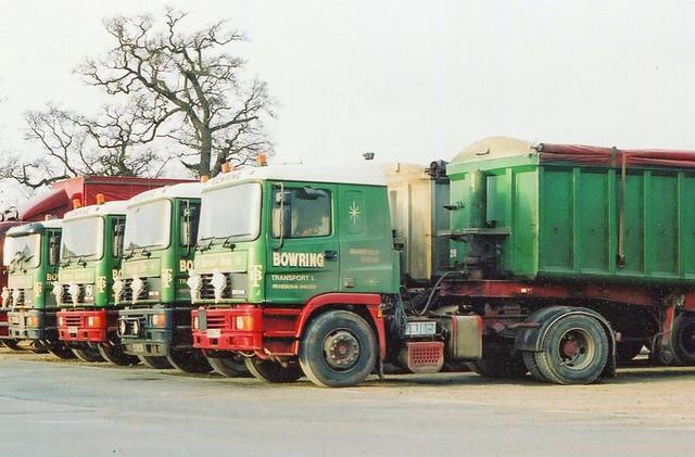 Line up of ERF Bulk Tippers Bowring Transport