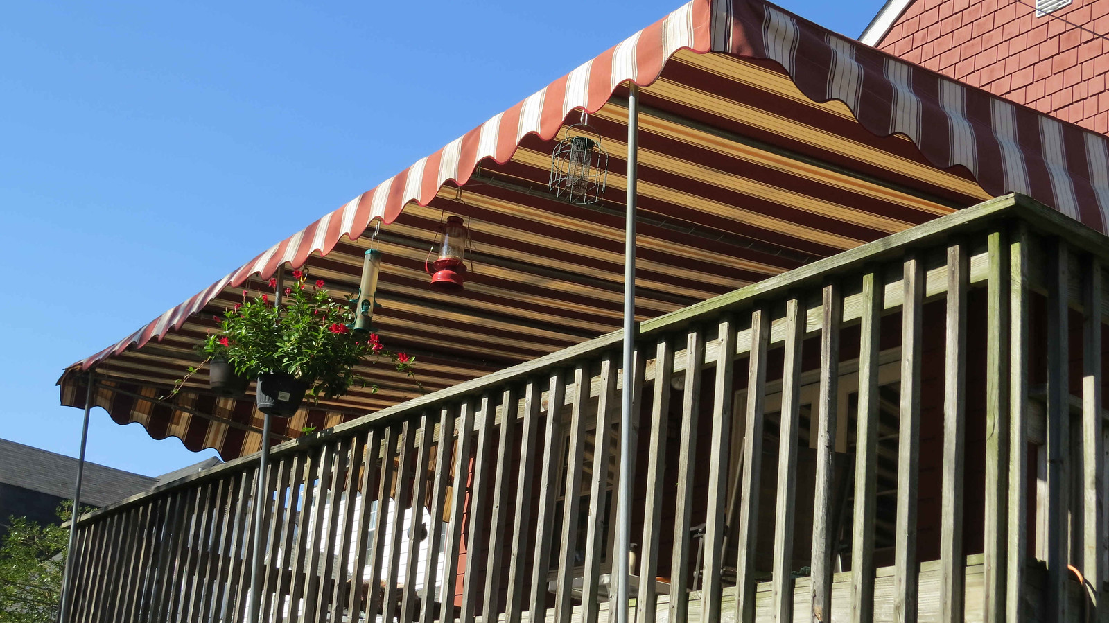 Terracotta Striped Deck Awning