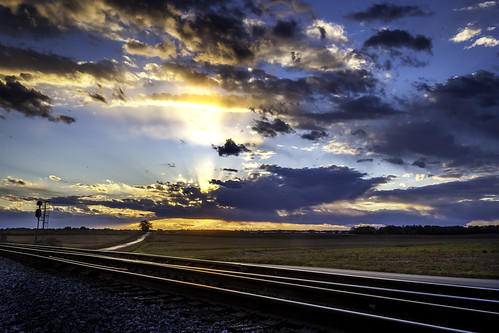 sunset alabama north railroad tracks agriculture sky colorful rural limestone county train trains transportation track rails