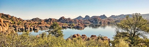 landscape nature water lake rocks pano panorama lakewatson arizona prescott