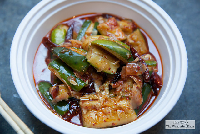Smashed cucumbers in chili oil