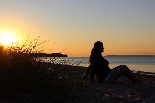 sunset lake michigan great greenbay