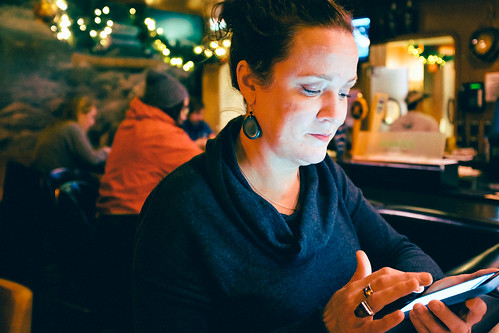 Checking messages. Seattle, WA. December 2016.