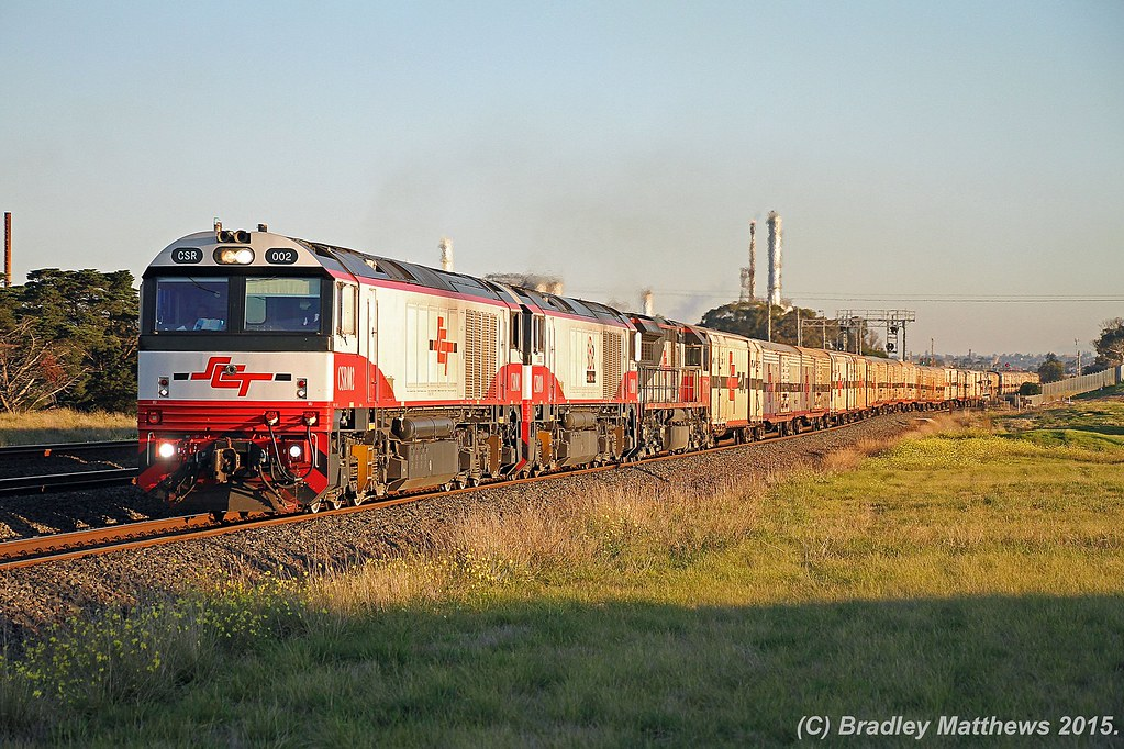 CSR002-CSR010-SCT015 with 5PM9 up SCT freight from Perth to Laverton (Melbourne) at Corio (21/6/2015) by Bradley Matthews