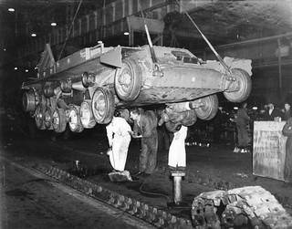 Lowering a Valentine tank on to its track