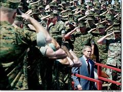 Troops Saluting Bush