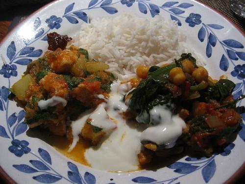Chilli chicken curry and Tamarind chickpeas