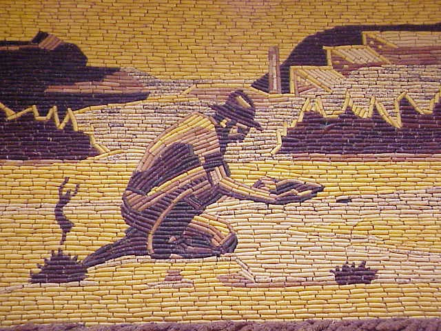 "Resultado de imagem para The walls of the Mitchell Corn Palace exhibit beautiful murals every year."""