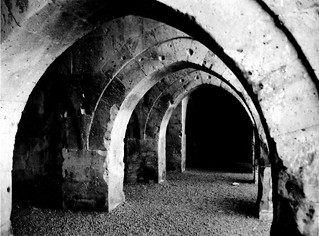 Inside Agzikarahan Keravanseray (black & white)