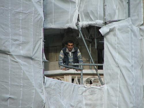 Bauarbeiter am Münchner Rathaus