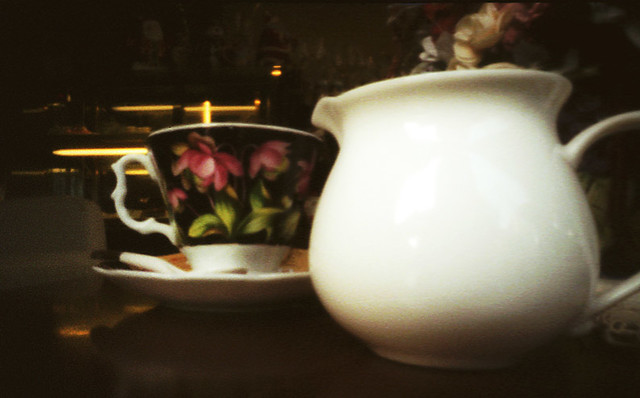coffee set, pinhole close up