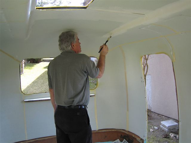 Boler Week 4: Dad Painting the Ensolite Foam | Once the pain