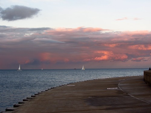 sunset lake chicago clouds lakemichigan lakeshore pw