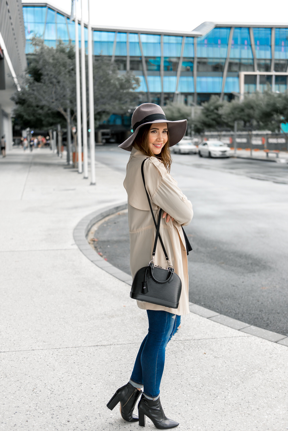 Stylish winter outfit with black booties