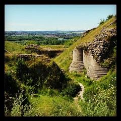 Sandal Castle, Emley Moor on the horizon