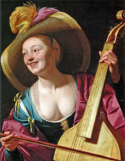 Gerrit van Honthorst - A young woman playing a viola da gamba