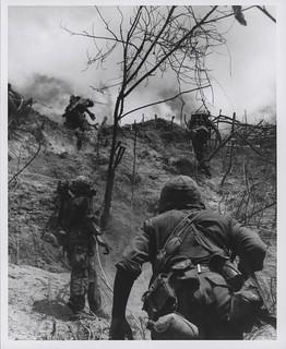 Marines Move Up Rugged Slope, July 1966