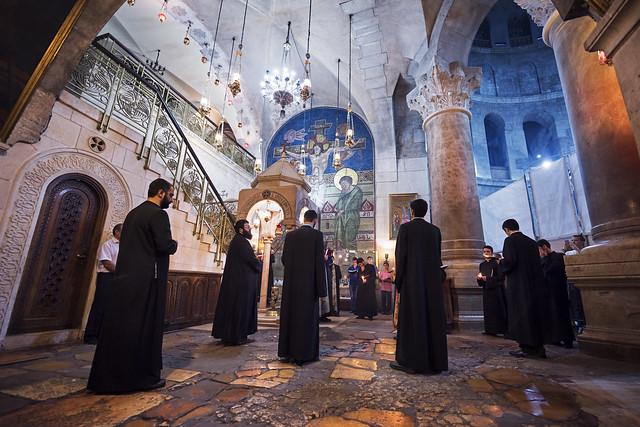 Prayer at the Church of the Holy Sepulchre - Jerusalem - Israel