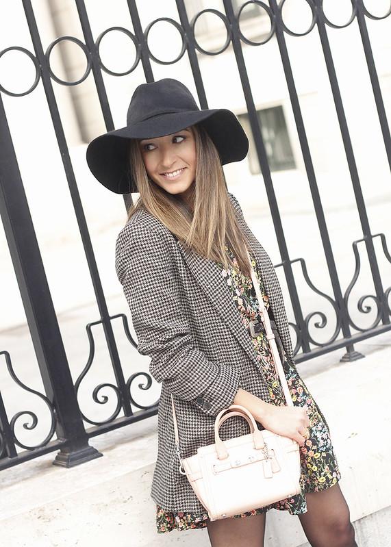 Flower dress blazer pink bag coach black hat accessories heels fashion style outfit10