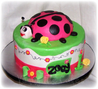 Incredible Ladybug 1St Birthday For Zoey Ladybug Birthday Cake With Flickr Personalised Birthday Cards Veneteletsinfo