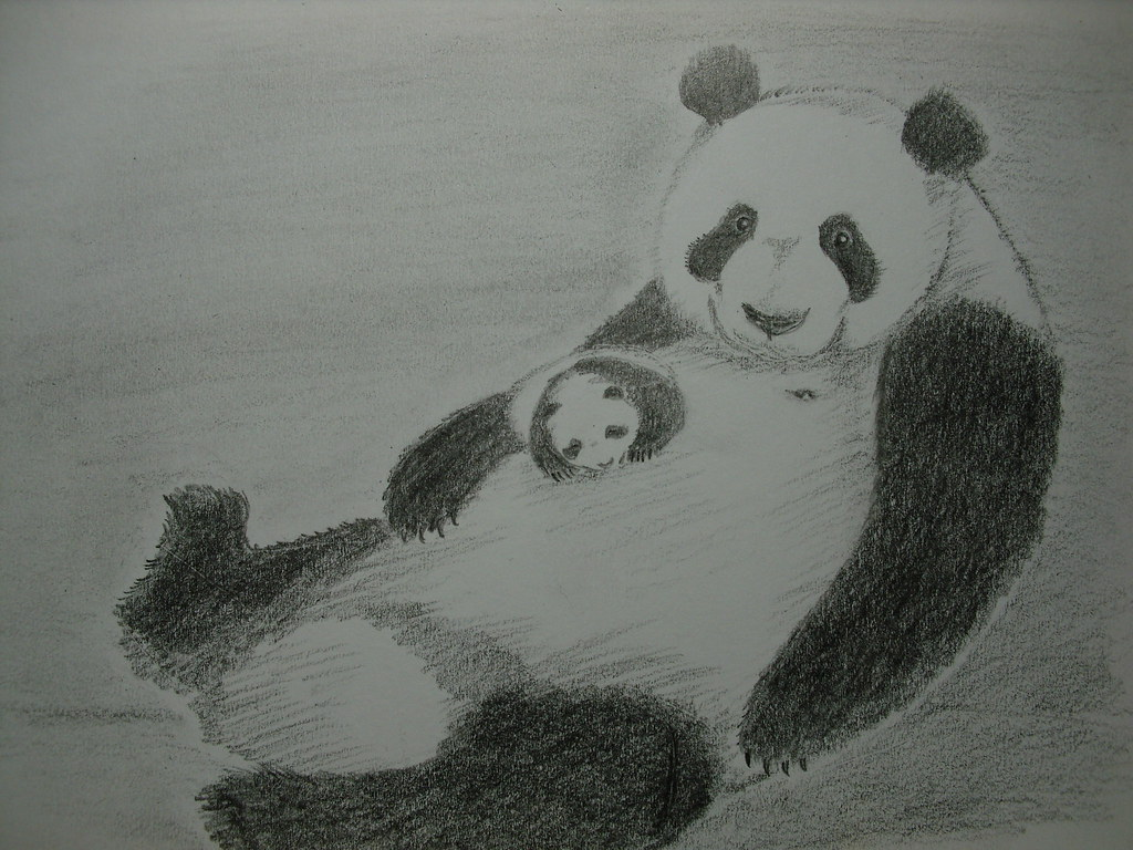 Happy mothers day panda mother and cub pencil drawing by poyee lam0321