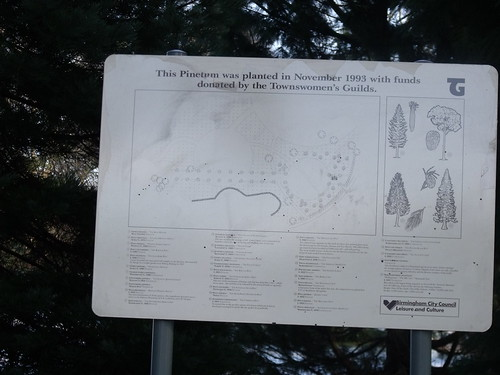 The path from the frozen lake to Moor Green Lane in Highbury Park - Pinetum sign | by ell brown