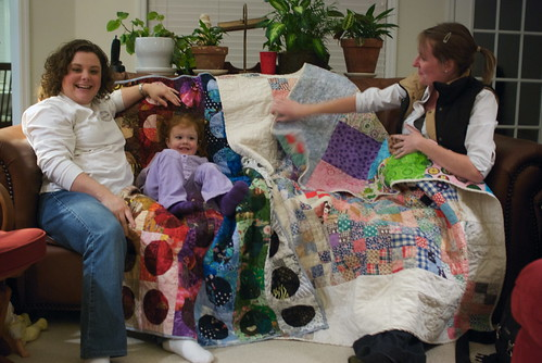 Ashley, Emily, Hallie, and their quilts