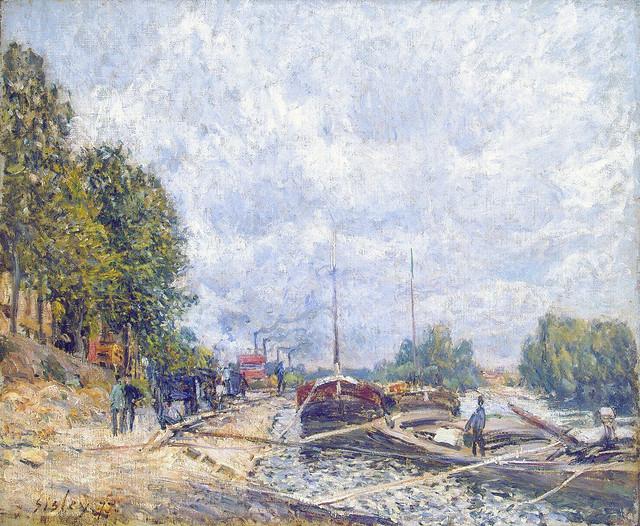 Alfred Sisley: Barges at Billancourt (1877)