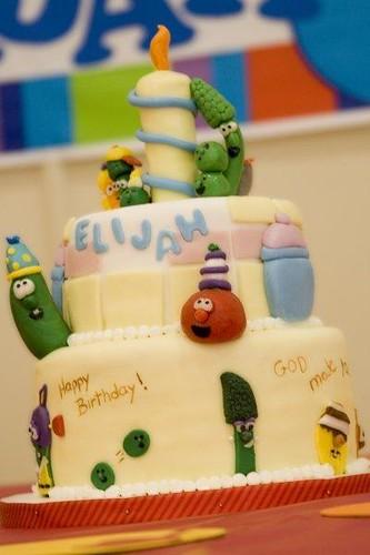 Awe Inspiring Veggie Tales 1St Birthday Cake Sheila Keyes Flickr Personalised Birthday Cards Veneteletsinfo