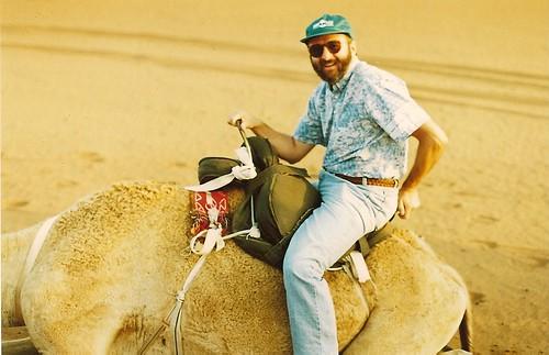 Richard riding a camel