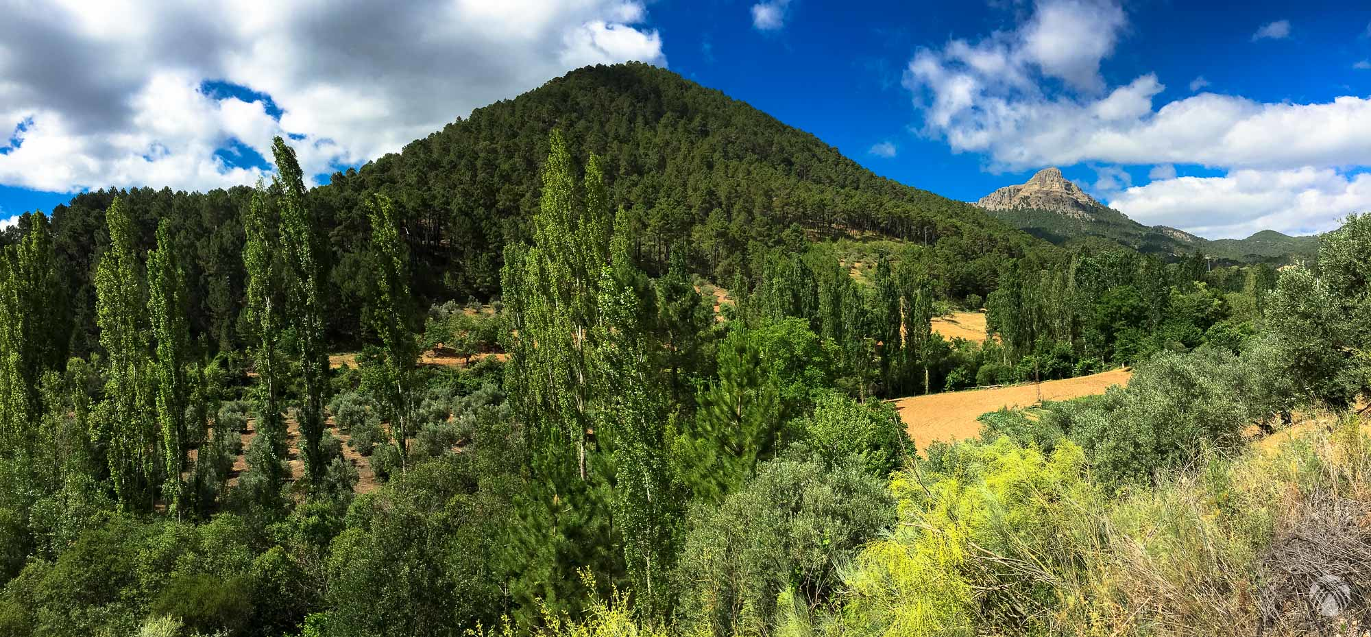 Valle del río Guadalimar. A la derecha al fondo la Peña o Piedra del Cambrón
