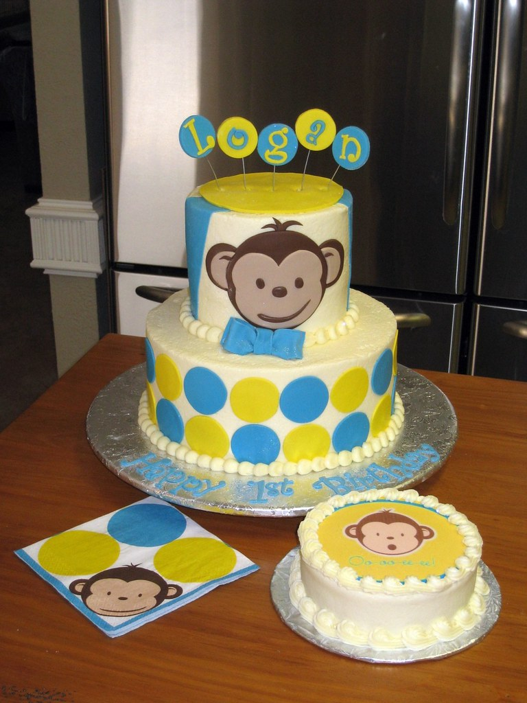Marvelous Mod Monkey 1St Birthday Cake Mod Monkey 1St Birthday Cake Flickr Personalised Birthday Cards Petedlily Jamesorg