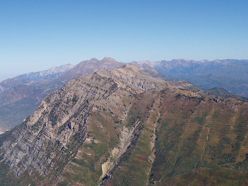 Cascade Mountain, Mount Timpanogos, and Lone Peak as seen from the summit of Provo Peak.
