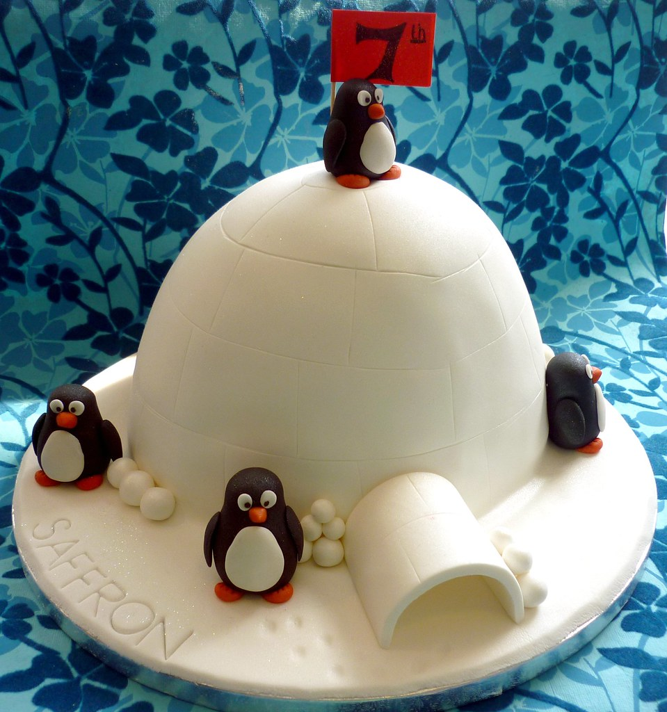Terrific Penguin And Igloo Birthday Cake I Love These Unusual Novel Flickr Funny Birthday Cards Online Aeocydamsfinfo