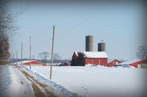 winter ohio red snow barn rural geotagged nikon raw nef farm country rustic dirtroad hdr photomatixpro tonecompressor d3s summitcountyohio nikongp1 pse8 nikkor70200f28vrii
