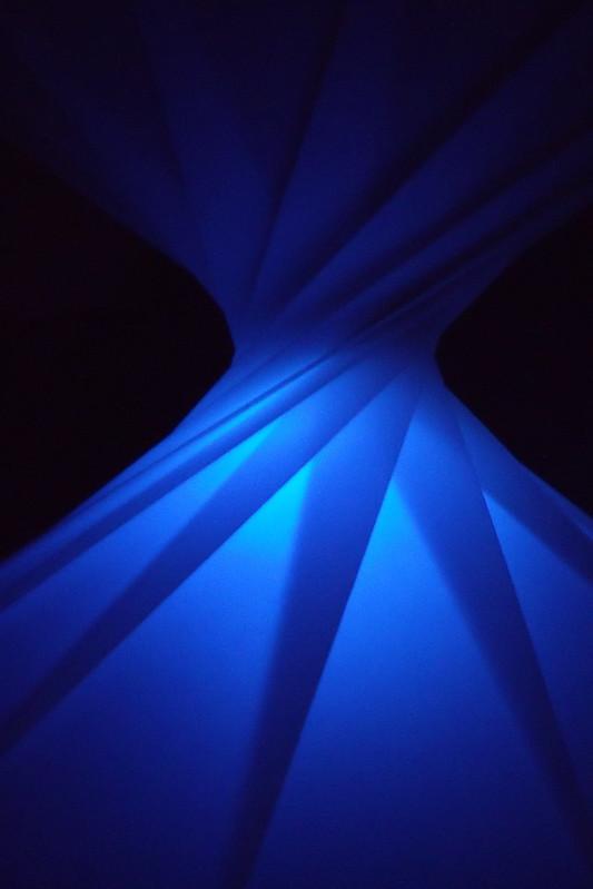 Blue origami spiral
