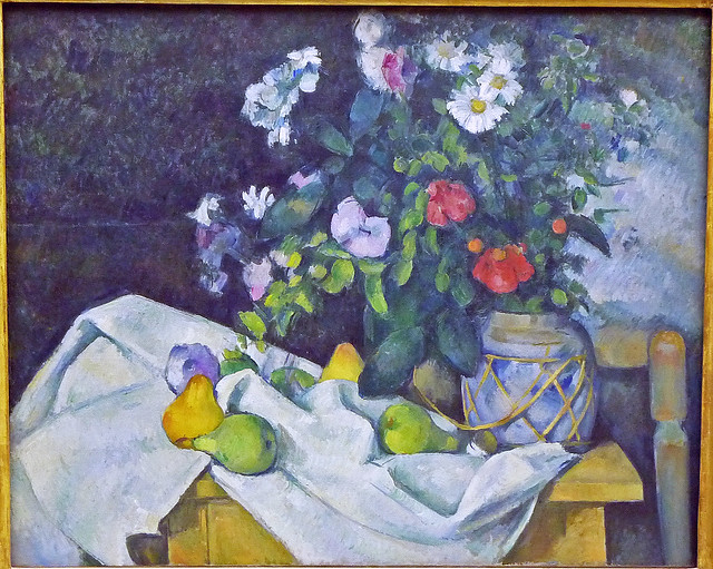 Paul Cézanne: Still-life with flowers & fruits (1890)