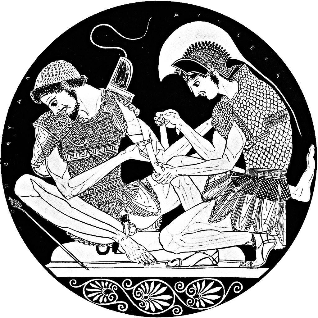 Patroclus' arrow-injury bandaged by Achilles. Styled democ ...