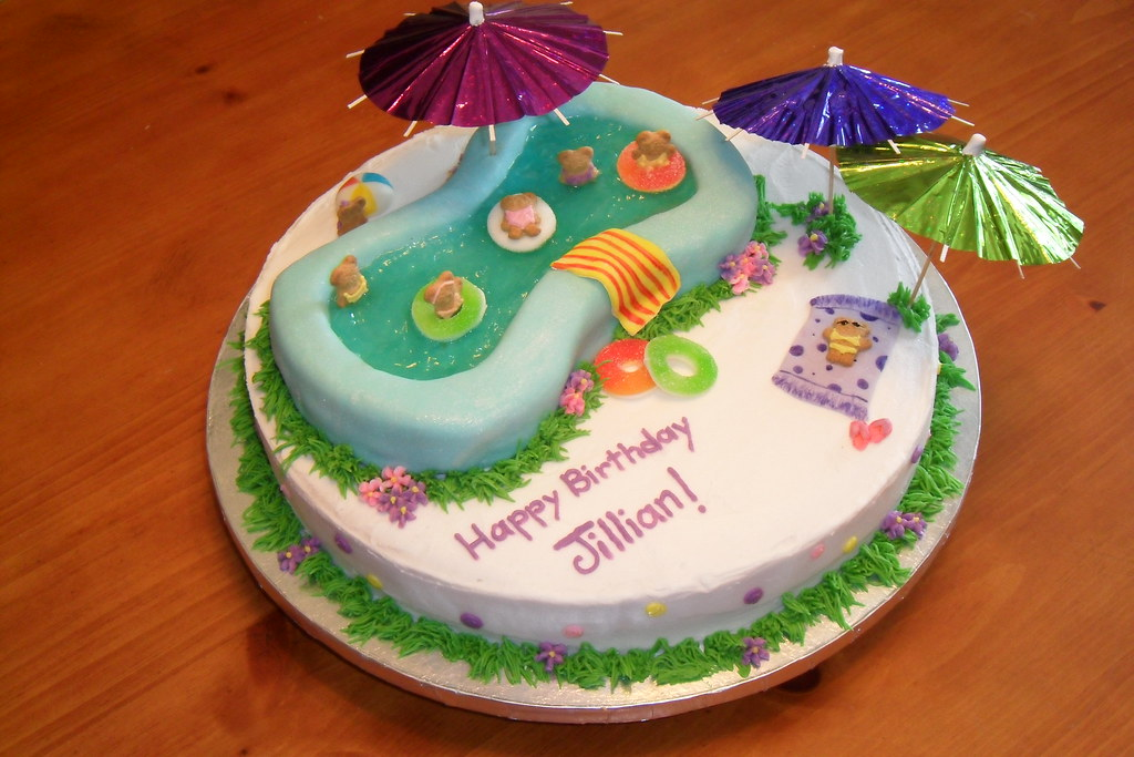 Prime Pool Party Birthday Cake Brandi Koonce Flickr Funny Birthday Cards Online Inifodamsfinfo