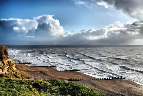 uk sea england cliff beach clouds waves unitedkingdom shingle windy bexhill breakwaters galleyhill coastuk larigan phamilton bracingclimate itsraininginfrance welcomeuk licensedwithgettyimages