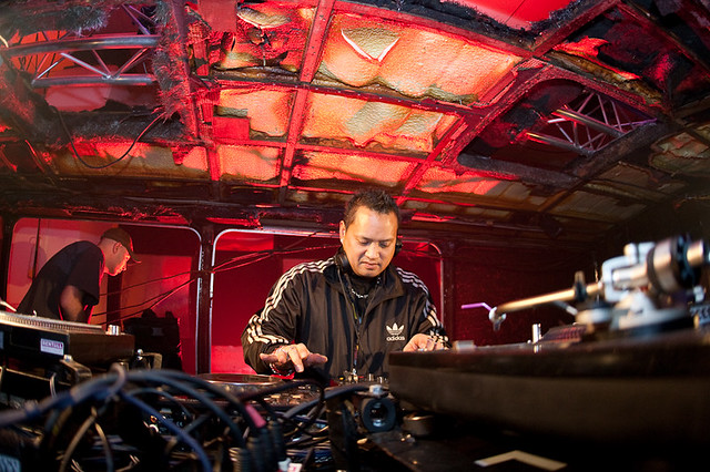 Thunderdome 2009 | DJ Gizmo playinh in a burned-out bus at T… | Flickr