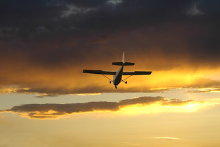 Flying in to the sunset