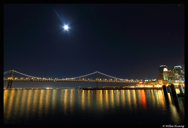 Bay Bridge Under Moonlit Sky