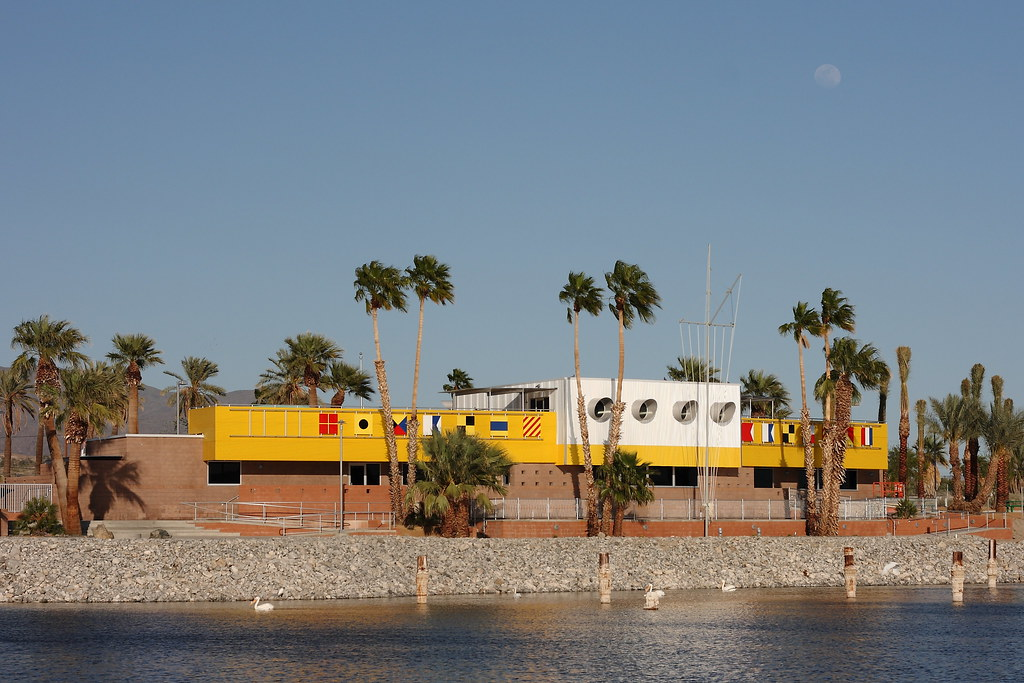North Shore Beach & Yacht Club at the Salton Sea has been restored to its former glory. Also, a nearly full moon.