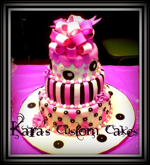 Pink & Brown Baby Shower Cake